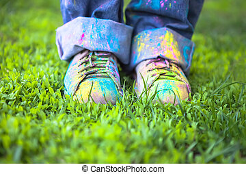 Colorful shoes on green grass - Bright dust on Vintage...