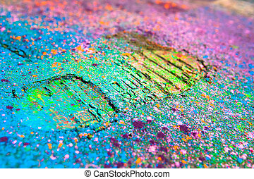 Shoe print on colorful background. Closeup