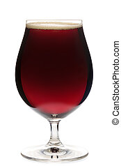 Tulip glass of dark ale beer isolated - Full snifter glass...