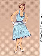 Lady in blue dress in retro style.