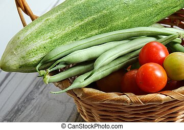 Vegetables harvested from a kitchen garden - Variety of...