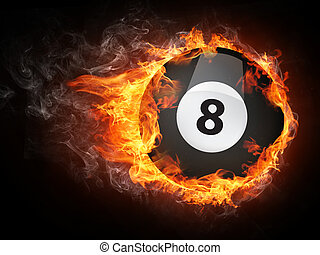 Pool Billiards Ball in Fire Computer Graphics