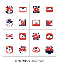 Set color icons of meter isolated on white Vector...