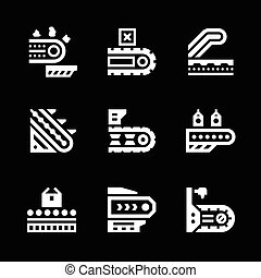 Set icons of conveyor isolated on black Vector illustration