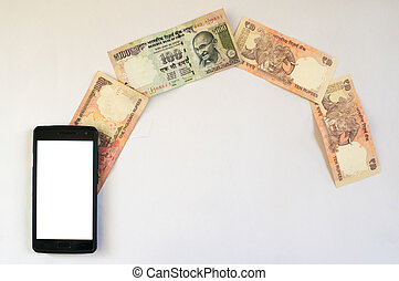 Indian money flowing from phone - Money flowing from mobile...