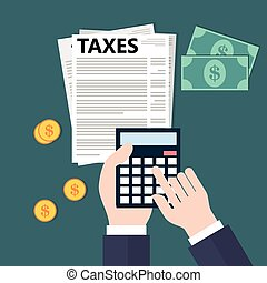 Calculating taxes Flat style illustration