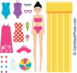 Dress up the doll children game. Summer holidays theme....