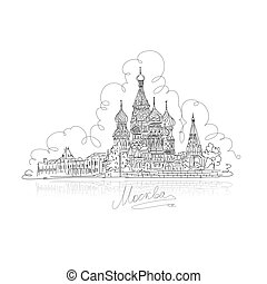 Moscow, Saint Basil Cathedral on Red Square, sketch design...