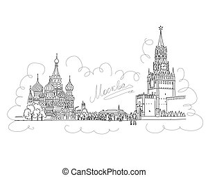 Moscow, Red Square, sketch for your design. Vector...