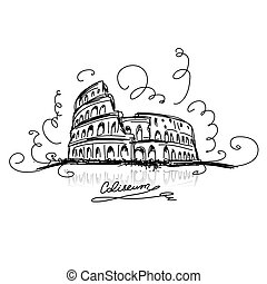 Sketch of Roman Colosseum. Vector illustration