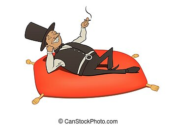 rich man relaxation - This is an illustration of rich man...