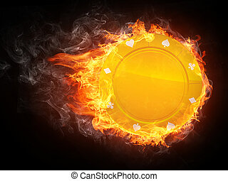 Casino Chip in Fire Computer Graphics