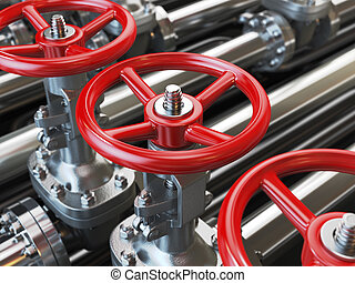 Oil or gas pipe line valves 3d illustration