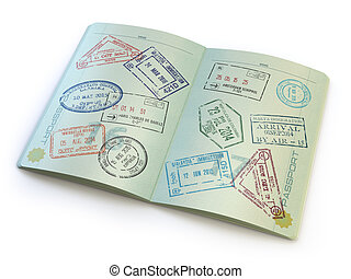 Opened passport with visa stamps on the pages isolated on...