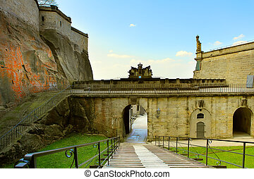The rampart of the Koeningstein fortress near Dresden, in...