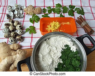 Cooking goutweed ginger cake, organic food with wild plants...