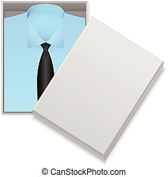 Blue shirt and tie in box on a white background