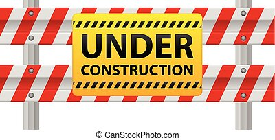 Under construction barrier - Under construction sign on road...