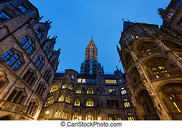 Cityhall of Munich - Courtyard of City hall in Munich at...