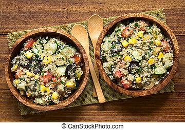 colorido, Quinoa, y, vegetal, ensalada,
