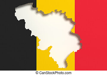 Silhouette of Belgium map with flag - 3d rendering of...