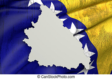 Silhouette of Bosnia Herzegovina map with old flag inside -...