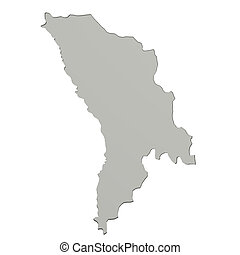 Moldova map - 3d rendering of a Moldova map on white...