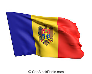3d rendering of a Moldova flag waving in white background