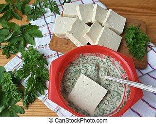 Cooking tofu in green goutweed tempura on plate, organic...