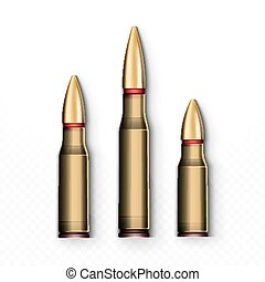 Bullet realistic. Bullets isolated on white background. -...