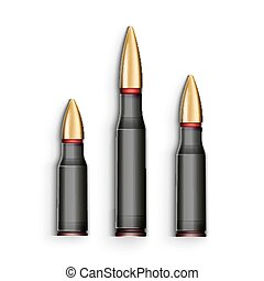 Bullet realistic Bullets isolated on white background -...