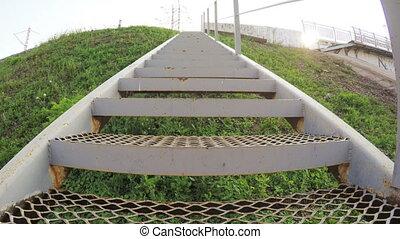 Iron footbridge - Ascent along iron pedestrian bridge