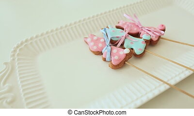 Beautiful gingerbread cookies on a stick Colored glaze -...