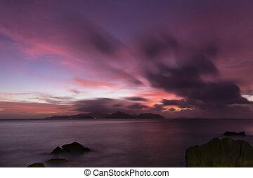Tropical Praslin Sunset, Seychelles - Colorful sunset long...