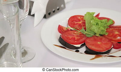 Backed eggplant with tomatoes