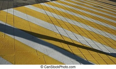 Crowd footsteps shadows silhouettes. Pedestrian crossing...