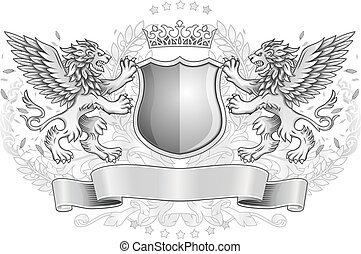 Winged Lions Holding Shield Emblem - Two Winged Lions...