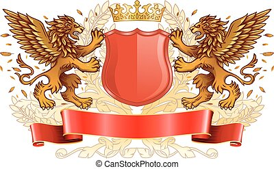 Winged Golden Lions Holding Shield Emblem - Two Winged...
