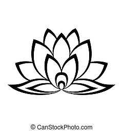 Lotus flower sign in simple style isolated on white