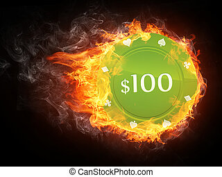 Casino Chip in Fire. Computer Graphics.
