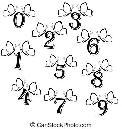 Set of butterflies with numbers