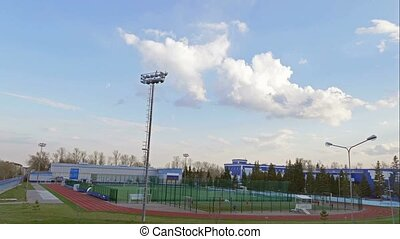children kids playing soccer time lapse training stadium...