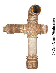 A fragment of the old water conduit consisting of pipes and...