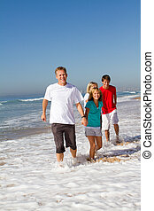 family fun on beach - a family of four holding hands and...