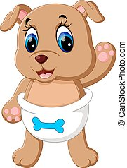 Cute baby dog cartoon - illustration of Cute baby dog...