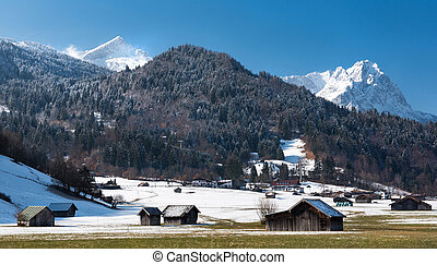 Alps, view from Loisach Valley - View over Alps from Loisach...