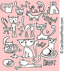 Doodle cat set - Collection of cute, hand-drawn, doodle...