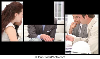 Stock animation presenting business people in the office in...