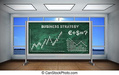 dibujo, empresa / negocio, estrategia, en, pizarra,