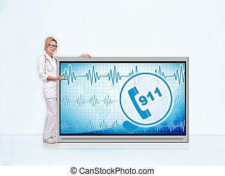 911 symbol on tv screen - woman doctor with stethoscope...
